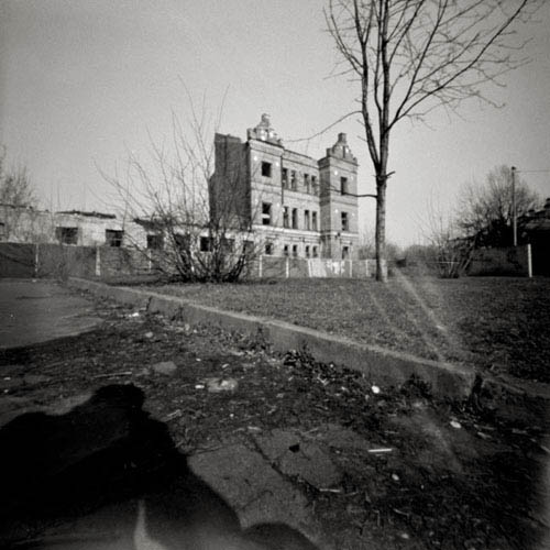 pinhole of ruins in kiev on artema kiev ukraine
