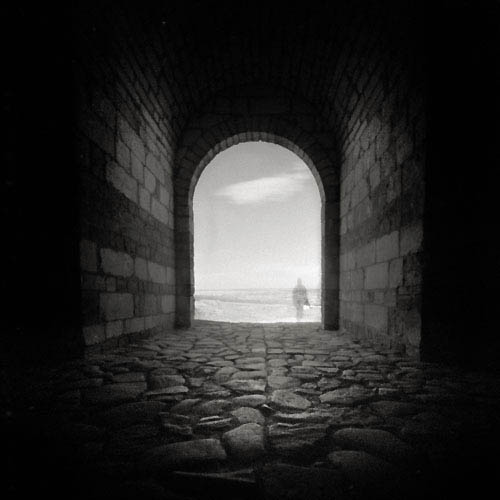 pinhole picture of the entrance to the hotin fortress