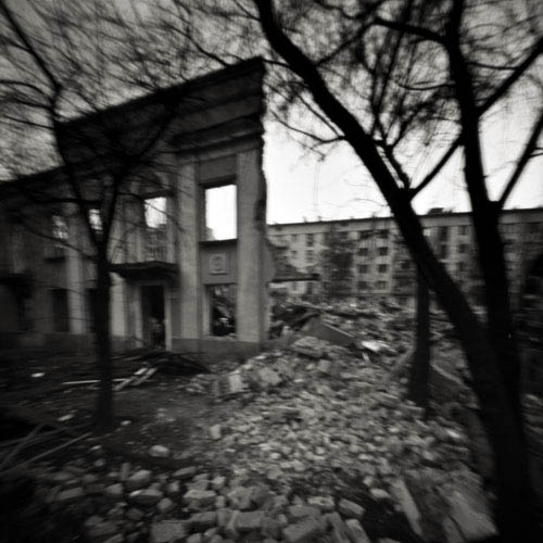 pinhole exposure of ruins in kiev