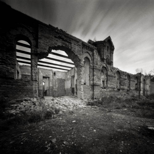 ruins in podivl, pinhole exposure