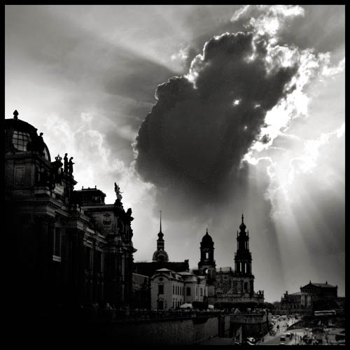 dresden skyline with baroque buildings and dramatic clouds dresden germany